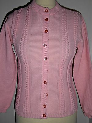 Vintage 60S Cutesy Baby Pink Cable Knit Cardigan Uk 6 8  Petite Mod