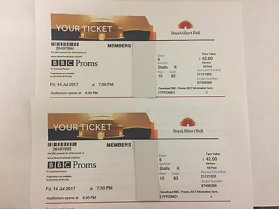 Bbc First Night Of The Proms Tickets X 2 Royal Albert Hall Friday 14Th July 2017