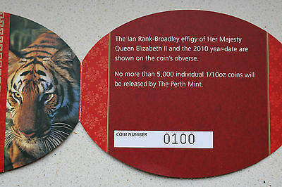 1/10 OZ Unze Australia Lunar II Gold Tiger 2010 PP PROOF
