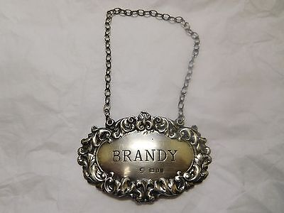 vintage sterling silver Brandy liquor decanter tag with London hallmarks