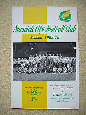 Norwich City v Oxford United Football Programme 1969/1970