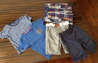 Boys summer bundle 2 x T-shirts and 3 Pairs Of shorts - age 3-4 years