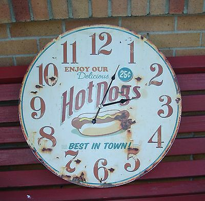 Vintage looking Hot Dogs 25 Cents Clock Advertising Sign