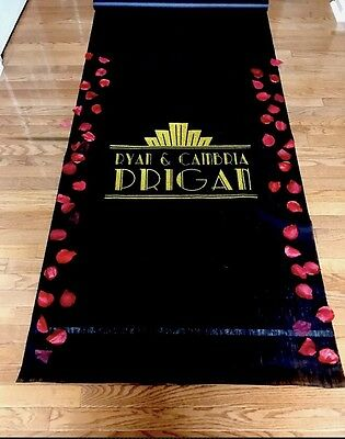 100ft Art Deco  Gatsby Personalized Wedding Aisle Runner Black - Personalize