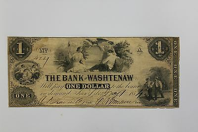 One Dollar Banknote - The Bank of Washtenaw