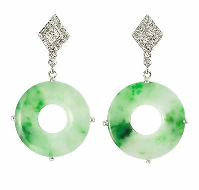 Antique Art Deco Jade Diamond 14k White Gold Earrings ☆(^_^)☆ 062317275