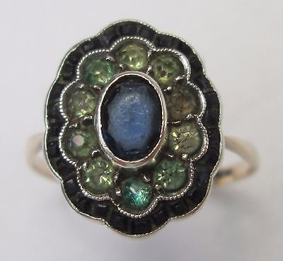 Antique 19th Century 9ct Gold Old Cut Blue Green Paste Austro Hungarian Ring