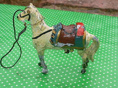 Old vintage SOLID cast LEAD Andalusian grey Horse cavalry mount - unusual