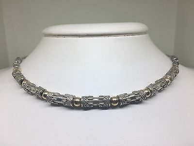 """Vintage Signed Zanfeld Sterling Silver and 14K Solid Gold Bead Necklace 16"""""""