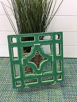 "Antique Chinese Glazed Garden Tile GREEN 7 1/2"" sq"