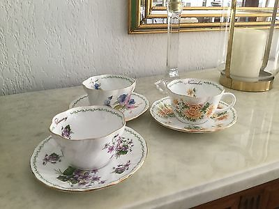 lot 3Tasses à thé Queen's. FIne bonne china  November F ebruary  aUgust