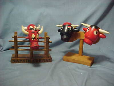 Vintage Wooden Bull Head Salt & Pepper Shakers With Matching Napkin Holder
