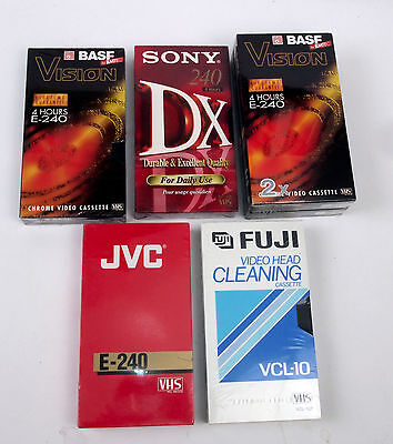 Seven NOS VHS tapes Sony, BASF, JVC plus Fuji VHS Head Cleaner
