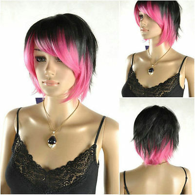 Latest New Short Black & Pink Woman's lady Like real hair Wigs