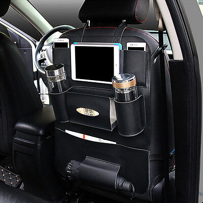 1x PU Leather Auto Car Seat Back Protector Cover Storage Holder Organizer Black