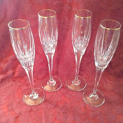 MIKASA GOLDEN LIGHTS 4  Crystal Champagne glasses, gold rim, deep vertical cuts
