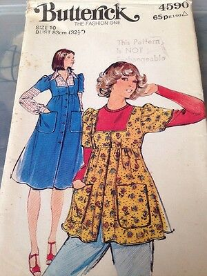 Womans Vintage sewing pattern Size 10 Dressmaking Smock Top Over Dress Pinafore