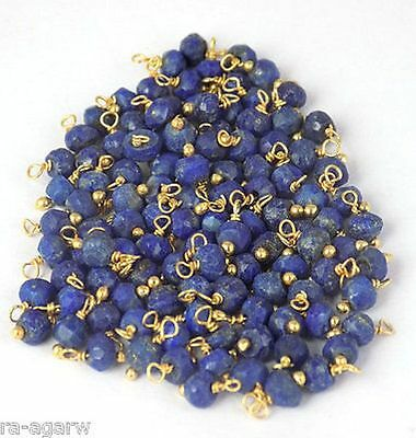 Wholesale Lot 30 Pieces Lapis Lazuli 24K Gold Plated Loose Gemstone Beads 3-4mm