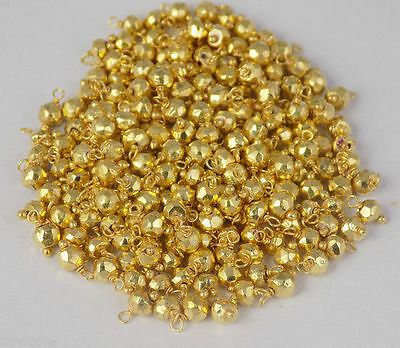 Wholesale Lot 30 Pieces Gold Pyrite 24K Gold Plated Loose Gemstone Beads 3-4mm