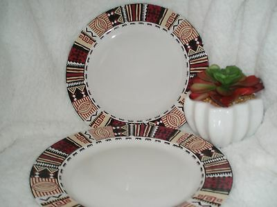 """Tienshan """"Congo"""" Stoneware 10 1/4"""" Dinner Plates Set of 2 **ONLY ONES ON EBAY!**"""