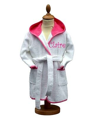 Personalised Baby/Child's Terry Dressing Gown, Bathrobe, Pink Trim, Curly Font
