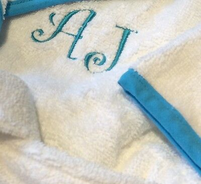 Personalised Baby/Child Terry Dressing Gown,Bathrobe, Pink Blue Trim, Curly Font