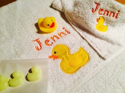 Personalised Baby/Child Towel/Flannel/Gift Set,Duck/Duckling,New Baby, Birthday
