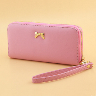 Pink New Lady Women Leather Clutch Wallet Long Card Holder Case Purse Handbag US