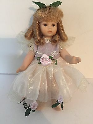 """Little 4.5"""" Porcelain Doll w/ Blonde Hair in Satin and Lace Dress w/ Pink Roses"""