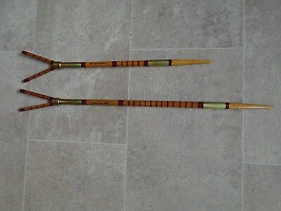 """PAIR of Traditional Built SPLIT CANE Rod Rests with """"V"""" heads.MAROON whippings."""