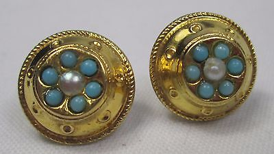 Antique Victorian 9ct Gold Etruscan & Turquoise Seed Pearl Stud Earrings 1871