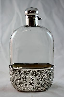 Antique Solid Sterling Silver and Glass Hip Flask by Alvin,  Excellent engraving