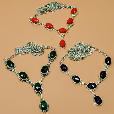 robust Coral, Emerald, Sunstone  Silver Plated Wholesale Necklace Lot AV3204