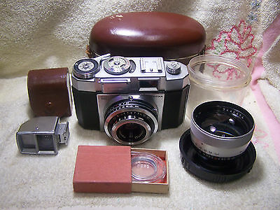 Zeiss Ikon Contina 35mm Camera with 75mm Telephoto Lens and Accessories