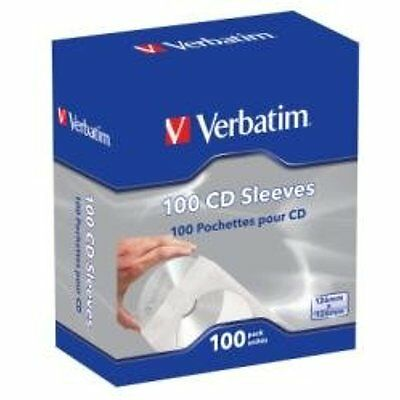 Verbatim CD/DVD Disc Jewel Cases Paper Sleeves With Clear Window 100 Pack 49976