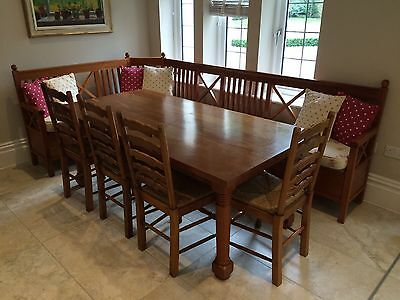 Solid cherry wood dinner kitchen table with 4 chairs, handmade, unique bespoke