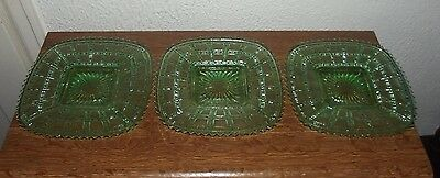 """Imperial Glass Green Depression Beaded Block 7 7/8"""" Square Plates Lot of 3"""