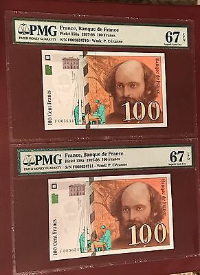 French France Running Pair 100 Franc Paul Cezanne PMG 67 Superb GEM UNC 1997