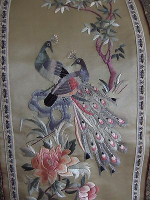 antique vintage Chinese silk hand embroidery peacock birds