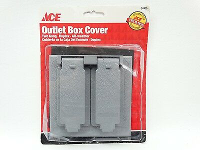 NEW Ace 34405 Grey 2 Gang Duplex All Weather Outlet Box Cover