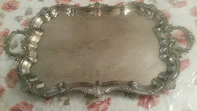 Large Ornate, Handled and Footed Silver on Copper Tray-