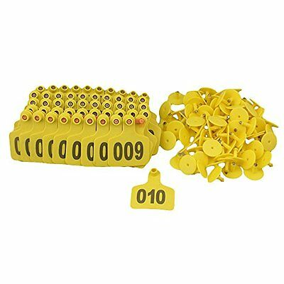 BQLZR Yellow Rawhide 1-100 Numbers Plastic Large Livestock Ear Tag For Cow Pack