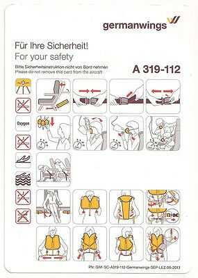 germanwings Safety Card Airbus A319-112