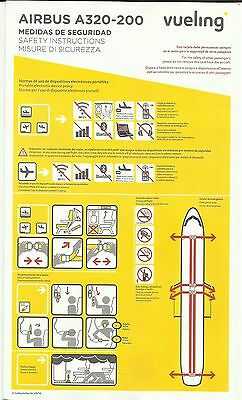 vueling Airlines Safety Card Airbus A320-200