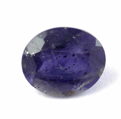 1 Pcs Natural Ink Blue Iolite Oval 10x12mm 4.18Cts Normal Cut Jewelry Gemstone
