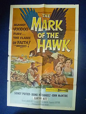 The Mark of the Hawk 1957  SIDNEY POITIER original movie poster