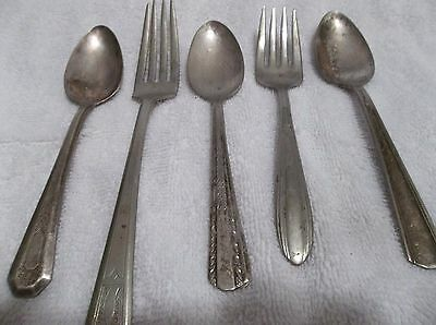 Mixed Lot of 5 Antique Vintage Collectible Silver Plate Flatware/Silverware.