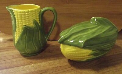 Ceramic Corn King Creamer and Small Casserole Dish with Lid