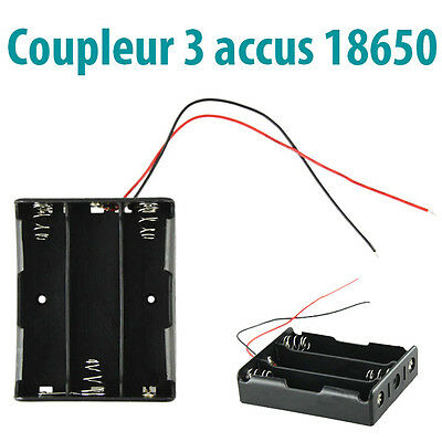Boitier Coupleur 3 Piles 18650 Li-ion Bloc Support Fil Accu Battery Holder Case