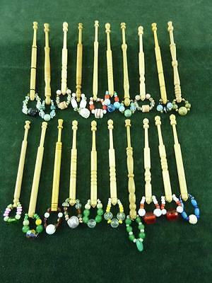 20 nice mixed turned wood Lace bobbins  with spangles  #28